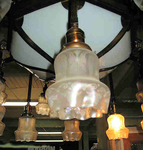 Detail view of glass shade on Bronze Arts & Crafts Lamp